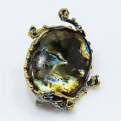 handmade. Livemaster - original item Silver brooch with Labrador and sapphire.. Handmade.