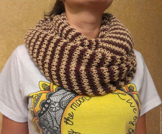 """Шарфы и шарфики ручной работы. Ярмарка Мастеров - ручная работа. Купить Снуд шарф """"Бежево-коричневый"""". Handmade. Комбинированный, снуд"""