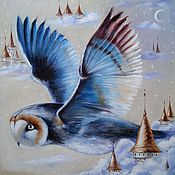 Pictures handmade. Livemaster - original item Oil painting with owl Wings of the night. Handmade.