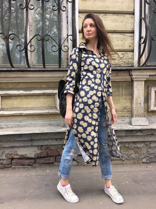 """Платья ручной работы. Ярмарка Мастеров - ручная работа. Купить Платье-рубашка """"flowers"""". Handmade. Платье рубашка, платье в цветок"""