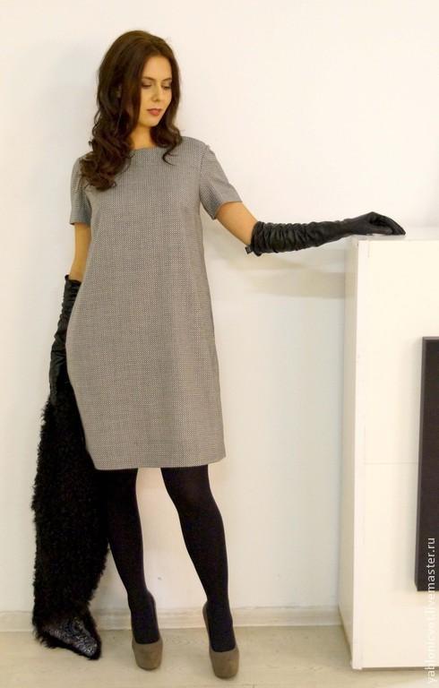 Платья ручной работы. Ярмарка Мастеров - ручная работа. Купить платье из тонкой итальянской  шерсти. Handmade. Чёрно-белый, шерсть