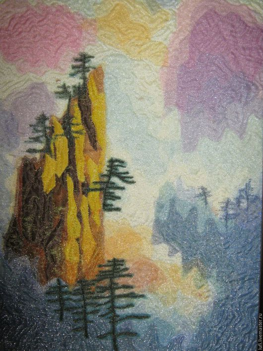 """Пейзаж ручной работы. Ярмарка Мастеров - ручная работа. Купить Квилт """"Горы"""". Handmade. Комбинированный, лоскутное шитье, туман, синтепон"""