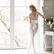 """Одежда ручной работы. Ярмарка Мастеров - ручная работа """"Предчувствие любви"""" - кружевной пеньюар для невесты. Handmade."""