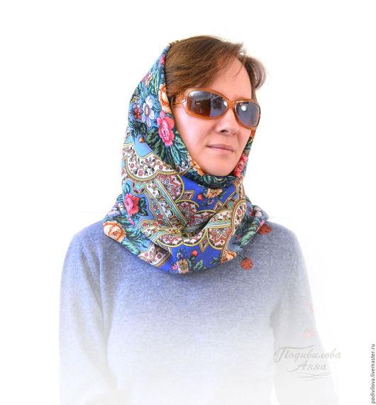 Снуд из павловопосадского платка , снуд шарф труба хомут, снуд зимний из шерсти ,модный снуд.Снуд интернет магазин.Анна Подивилова .Снуд для женщины,девушки,зимняя мода 2017,женский головной убор.