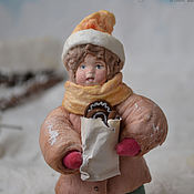 Подарки к праздникам ручной работы. Ярмарка Мастеров - ручная работа Ватная елочная игрушка ДАНЬКА С ПРЯНИКАМИ. Handmade.