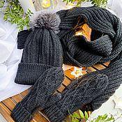Комплекты аксессуаров ручной работы. Ярмарка Мастеров - ручная работа Женская вязанная шапка,шарф и варежки. Handmade.
