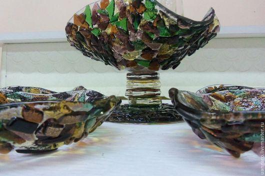 Декоративная посуда ручной работы. Ярмарка Мастеров - ручная работа. Купить Ваза с пиалами, фьюзинг. Handmade. Фьюзинг, авторское стекло