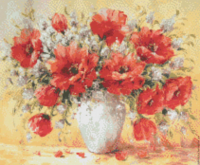 Картины цветов ручной работы. Ярмарка Мастеров - ручная работа. Купить  Схема вышивки бисером