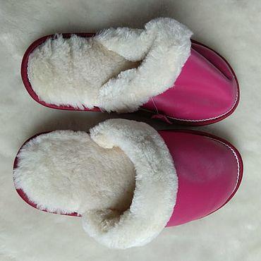 Обувь ручной работы. Ярмарка Мастеров - ручная работа Кожаные тапочки из мутона цвет фуксия. Handmade.