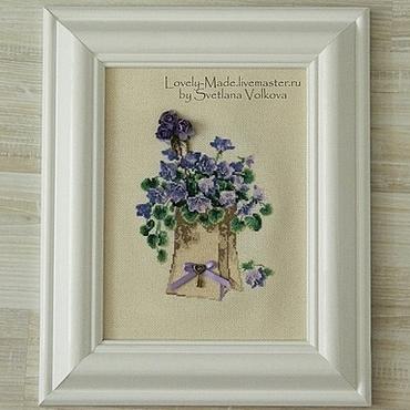 Картины и панно ручной работы. Ярмарка Мастеров - ручная работа Весенние цветы. Вышитый рисунок. Готовая работа. Миниатюрная вышивка. Handmade.