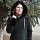 Верхняя одежда ручной работы. Куртка замшевая черная с ассиметричной молнией,норкой и капюшоном. Ирина (dneproart). Интернет-магазин Ярмарка Мастеров.