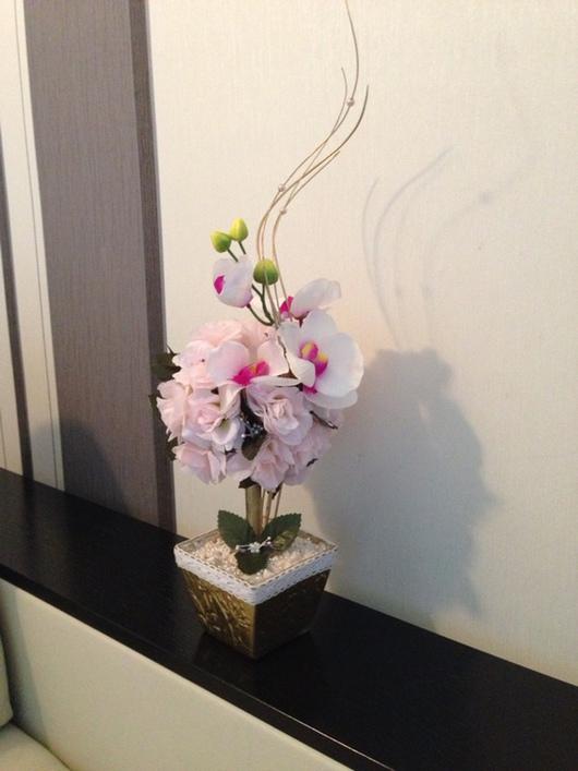 """Топиарии ручной работы. Ярмарка Мастеров - ручная работа. Купить """"Нежность"""". Handmade. Искусственные цветы, композиция из цветов, гипс"""