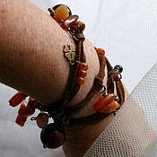 Украшения handmade. Livemaster - original item Necklace-bracelet-winding leather with carnelian