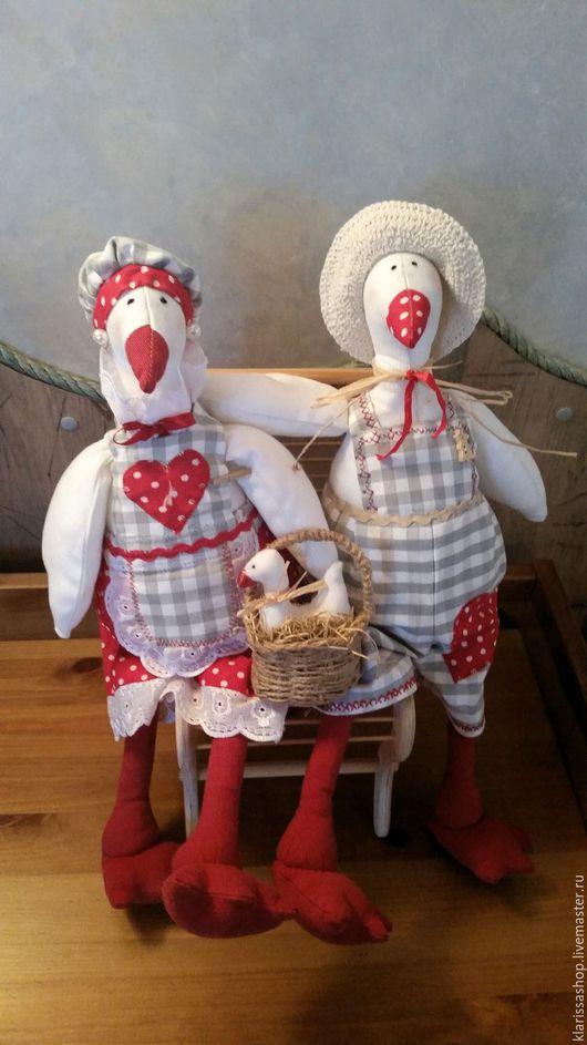 Куклы Тильды ручной работы. Ярмарка Мастеров - ручная работа. Купить гуси Тильда. Handmade. Разноцветный, купить подарок, бусины