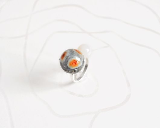 """Кольца ручной работы. Ярмарка Мастеров - ручная работа. Купить Кольцо из серебра и муранского стекла """"Пыльная Роза"""". Handmade."""
