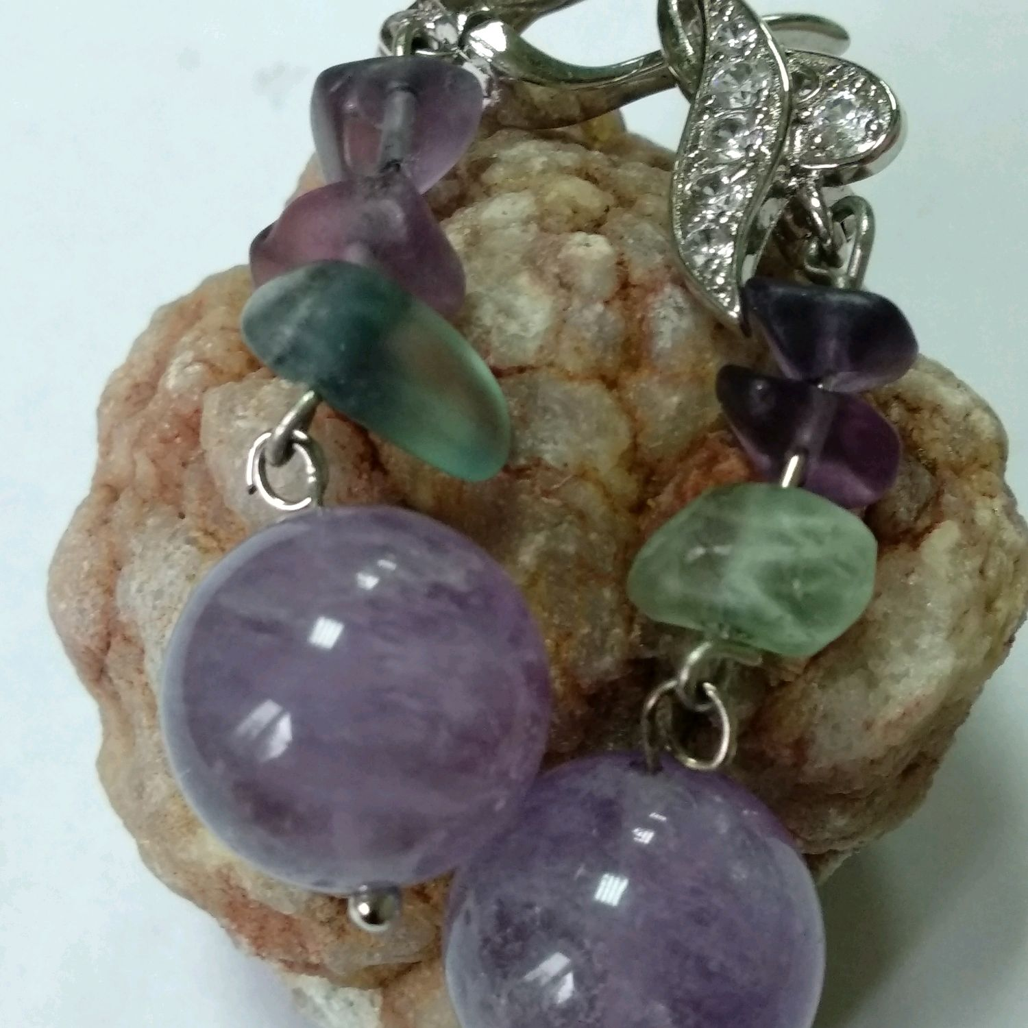 Earrings made of natural stones amethyst. Snowdrops, Earrings, Tuchkovo,  Фото №1