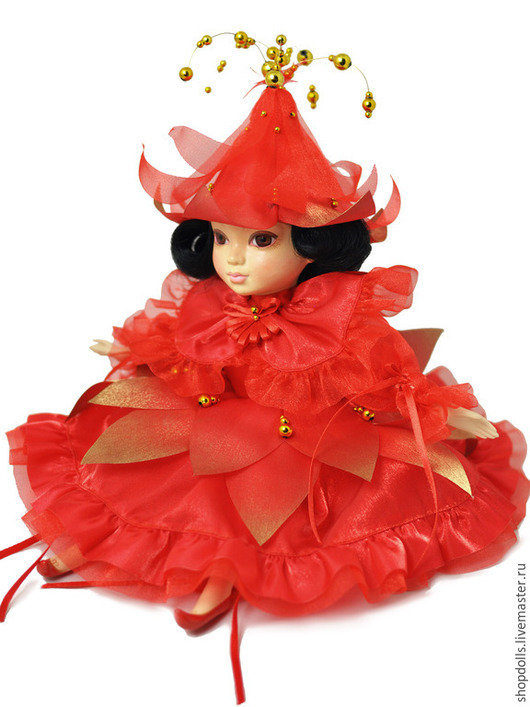 Коллекционные куклы ручной работы. Ярмарка Мастеров - ручная работа. Купить Кукла дюймовочка. Handmade. Ярко-красный, интерьер