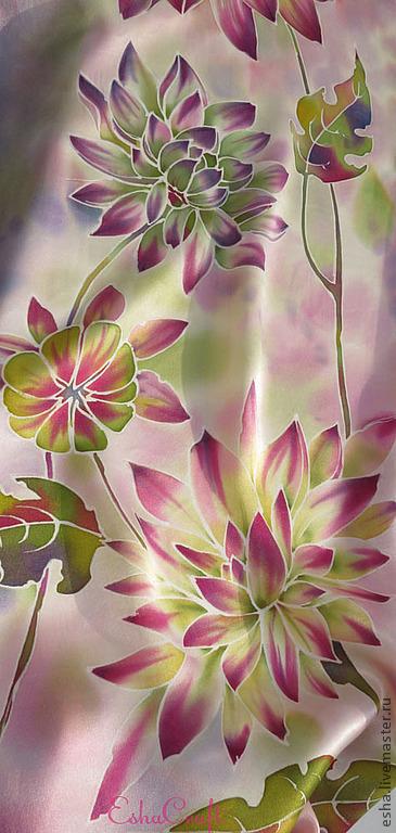 """Шарфы и шарфики ручной работы. Ярмарка Мастеров - ручная работа. Купить Шелковый шарф """" Осенние цветы"""" батик. Handmade."""