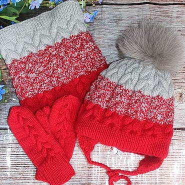 Works for children handmade. Livemaster - original item Knitted winter set with gradient. Handmade.