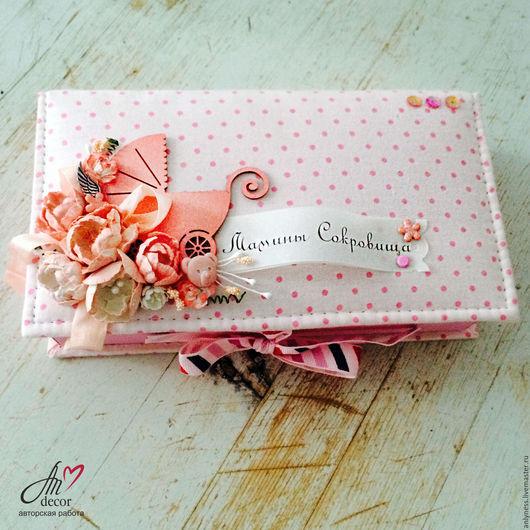"""Для новорожденных, ручной работы. Ярмарка Мастеров - ручная работа. Купить Коробочка """"Мамины сокровища"""" для девочки. Handmade. Розовый, коробочка"""