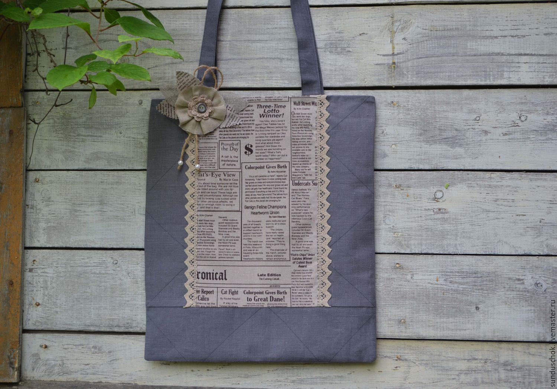 "Льняная эко-сумка ""Свежая пресса"""