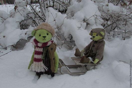 Мишки Тедди ручной работы. Ярмарка Мастеров - ручная работа. Купить Тася и Сеня ( Зимние забавы). Handmade. Оливковый
