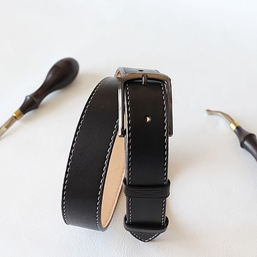Accessories handmade. Livemaster - original item Genuine leather belt sewn by hand in black color.. Handmade.