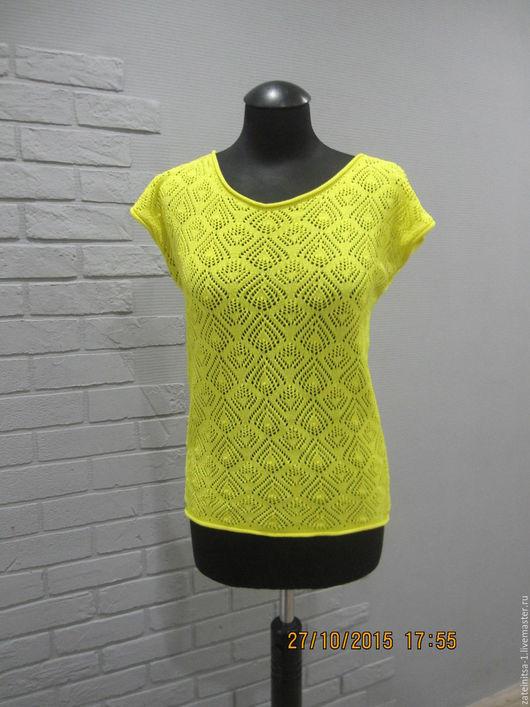 """Блузки ручной работы. Ярмарка Мастеров - ручная работа. Купить блузка""""немного солнца"""". Handmade. Лимонный, вязание на заказ, ажурная блузка"""