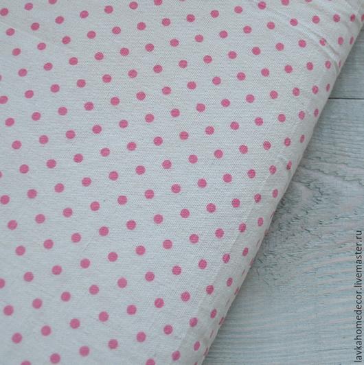 Лен натуральный Горох розовый, 50х50см, 1512