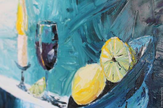 """Натюрморт ручной работы. Ярмарка Мастеров - ручная работа. Купить Картина маслом """"Натюрморт с лимонами"""". Handmade. Тёмно-синий, подарок"""