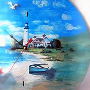 """Для дома и интерьера ручной работы. Ярмарка Мастеров - ручная работа часы большие круглые """" Море, маяк, лодка.."""". Handmade."""