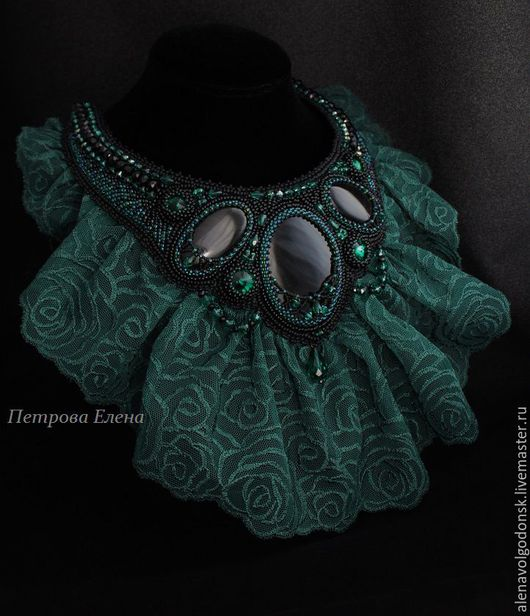 """Колье, бусы ручной работы. Ярмарка Мастеров - ручная работа. Купить Колье """"Emerald rose"""" черные обсидианы, кружева. Handmade."""