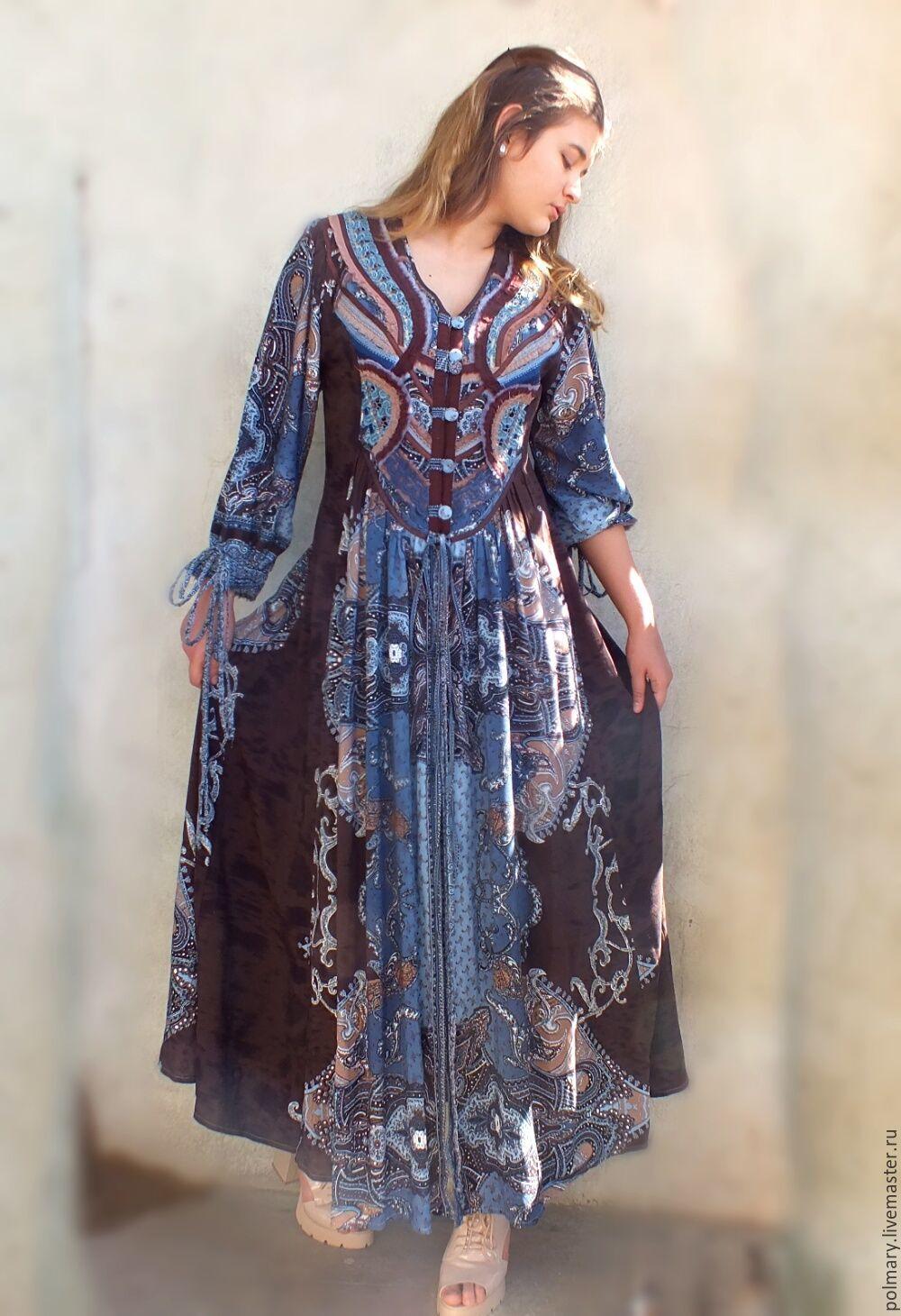 933dd22899f Dresses handmade. Boho dress-chocolate-blue  butterfly Wings . PolMary.