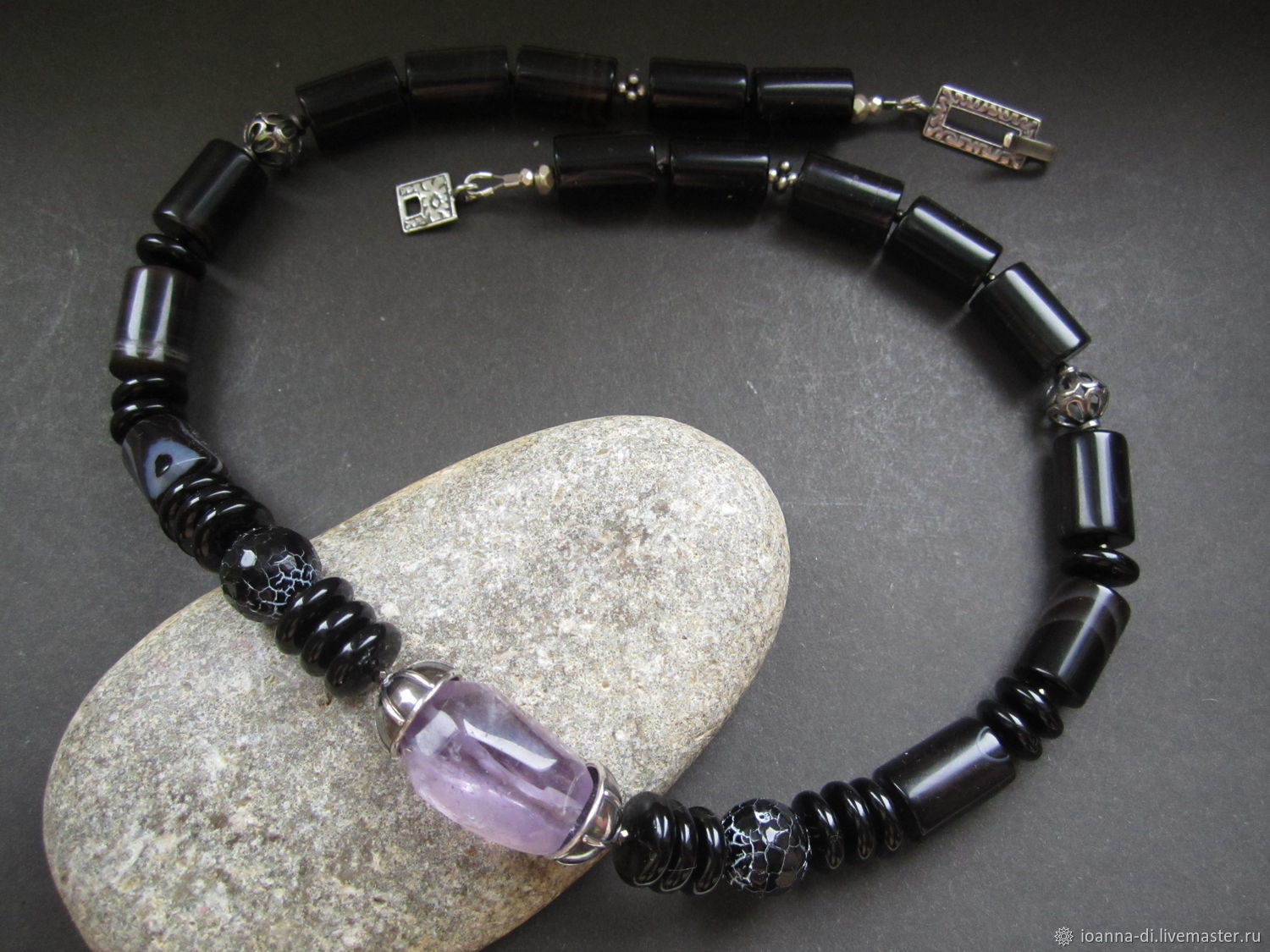 Chalker 'Silence' amethyst, agate, silver, Chokers, Moscow,  Фото №1