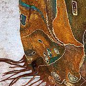 Аксессуары ручной работы. Ярмарка Мастеров - ручная работа Климт в коньячных тонах палантин двусторонний из шелка и шерсти мерин. Handmade.