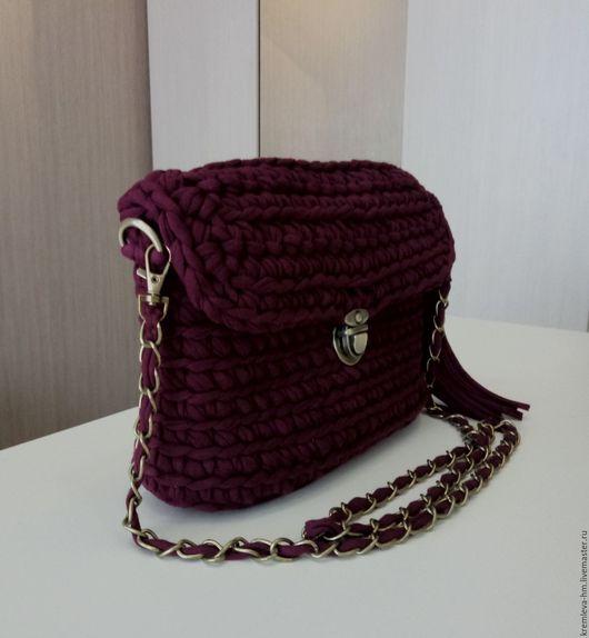 Женские сумки ручной работы. Ярмарка Мастеров - ручная работа. Купить Бордовая вязаная сумочка. Handmade. Бордовый, ленточная пряжа