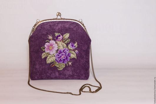 Женские сумки ручной работы. Ярмарка Мастеров - ручная работа. Купить вечерняя сумочка на фермуаре с вышивкой крестиком Букетик Cross Stitch. Handmade.