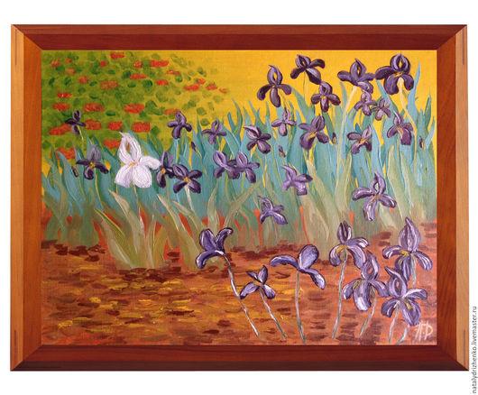 """Картины цветов ручной работы. Ярмарка Мастеров - ручная работа. Купить Картина маслом """"Ирисы"""". Handmade. Разноцветный, интерьер"""