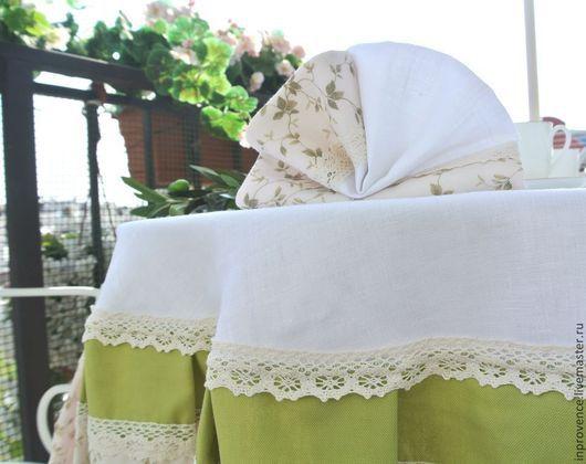 Комплект столового белья. Скатерть с салфетками льняные в стиле Прованс
