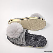 Обувь ручной работы handmade. Livemaster - original item Knitted slippers on the sole, gray half-wool. Handmade.