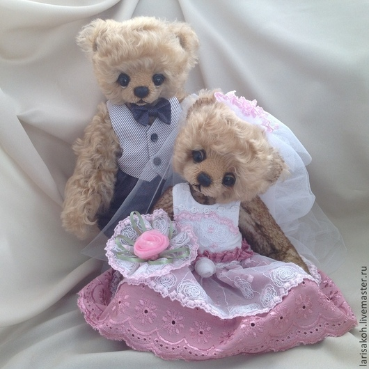 Мишки Тедди ручной работы. Ярмарка Мастеров - ручная работа. Купить Свадебная пара в Бохо стиле. Handmade. Бледно-розовый