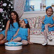 """Одежда ручной работы. Ярмарка Мастеров - ручная работа Одинаковые платья для мамы и дочки """"Морской бриз"""", комплект. Handmade."""