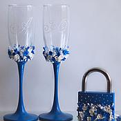 Свадебный салон ручной работы. Ярмарка Мастеров - ручная работа Бокалы в синем цвете. Handmade.