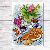 """Открытки ручной работы. Ярмарка Мастеров - ручная работа Открытка для посткроссинга """"Чайный натюрморт"""". Handmade."""