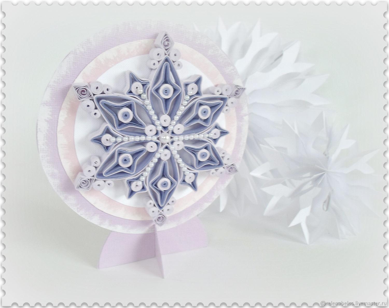 Открытка Снежинка с магнитом и календарём. Новогодняя открытка, Открытки, Видзы,  Фото №1