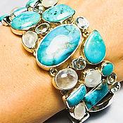 Браслет из серебра 925 пробы, бирюзы, лунного камня, голубого топаза.