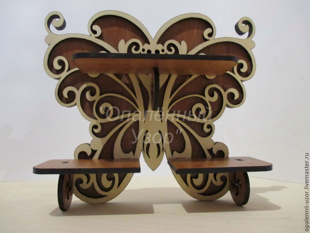 Easy shelf `Butterfly` will brighten up Your room. To place on it and makeup and stuff, and small vases with flowers.