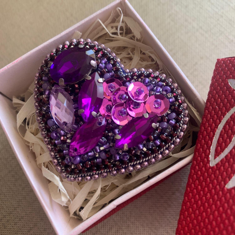 Брошь из бисера фиолетовое сердце, Брошь-булавка, Калининград,  Фото №1