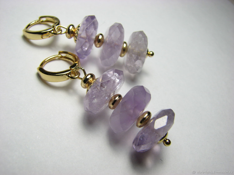 Earrings with amethyst 'Climbing', Earrings, Moscow,  Фото №1