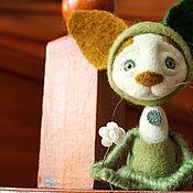 """Куклы и игрушки ручной работы. Ярмарка Мастеров - ручная работа войлочный котик """"Зеленый"""". Handmade."""